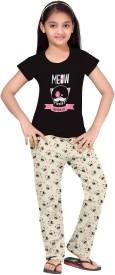 So Sweety Girl's Printed Black Top & Pyjama Set