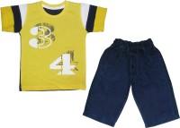 Mini Taurus Baby Boy's Printed Yellow Top & Pyjama Set