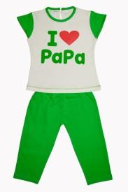 Myfaa Baby Girl's Printed White, Green Top & Pyjama Set