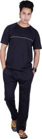 Vivid Bharti Round Neck Sinker Men's Solid Black Top & Pyjama Set