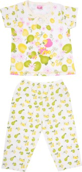 Myfaa Baby Girl's Printed Yellow Top & Pyjama Set