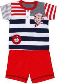 Munna Munni Kids Apparel Baby Boy's Printed, Striped, Solid Red, Blue, Grey Top & Shorts Set