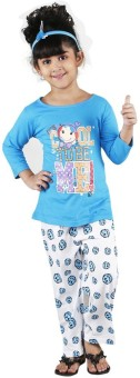 Bella & Brat Girl's Printed Blue, White Top & Pyjama Set