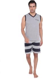 Valentine Men's Printed Grey Top & Shorts Set