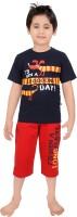 Punkster Baby Boy's Graphic Print Dark Blue T-shirt & Three-forth Set