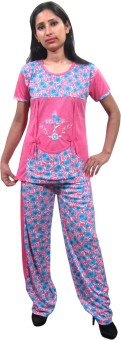 Indiatrendzs Night Suit Women's Floral Print Top & Pyjama Set