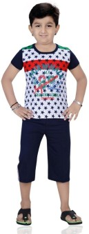 Mint White Cotton Boy's Printed Top & Capri Set