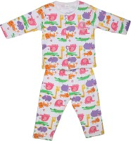 Toffy House Stylish Delight Baby Girl's, Baby Boy's Printed Top & Pyjama Set