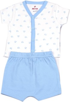 Bio Kid SHORT PJAYAMA - WHITE AOP TOP & POWDER BLUE Baby Boy's Printed Top & Shorts Set