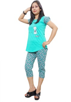 Indiatrendzs Women's Printed Top, Capri & Shorts Set