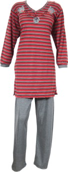 Indiatrendzs Night Suit Women's Striped, Solid Top & Pyjama Set: Night Suit