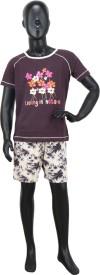 Valentine Girl's Floral Print Brown Top & Shorts Set