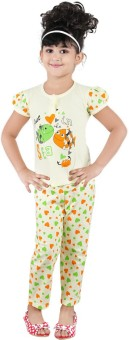 Chocoberry Cute Baby Girl's Printed Top & Pyjama Set
