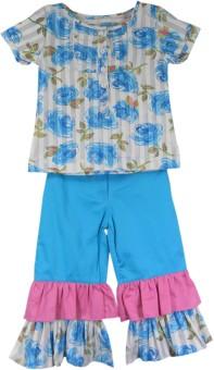 Ssmitn Girl's Printed Top & Ruffle Pants