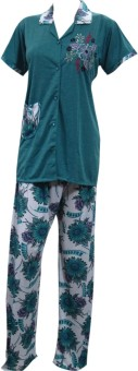 Indiatrendzs Night Suit Women's Floral Print, Embroidered Top & Pyjama Set