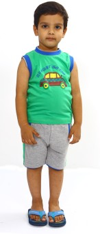 Bio Kid Bio Car Boy's Printed Top & Shorts Set