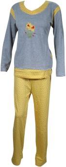 Indiatrendzs Women's Solid, Polka Print Top & Pyjama Set: Night Suit