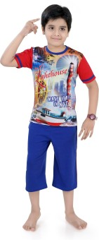 Just4You Boy's Printed Blue T-shirt & Three-forth Set