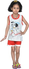 Gee & Bee Girl's Printed White Top & Shorts Set