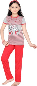 Punkster Girl's Solid Top & Pyjama Set