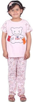 Vivid Bharti Printed Rich Cotton Girl's Printed Top & Pyjama Set