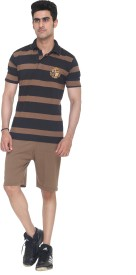 Colors & Blends Bermuda Suit Men's Striped Brown Top & Shorts Set