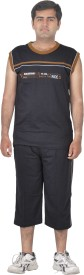 Premium Plus Men's Solid Grey T-shirt & Three-forth Set