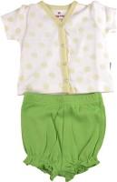 Bio Kid SHORT PYJAMA - WHITE AOP TOP & BUD GREEN Baby Girl's Printed Top & Shorts Set