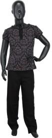 Valentine Girl's Floral Print Grey, Black Top & Pyjama Set
