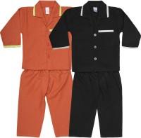 Kingstar Baby Boy's, Baby Girl's Checkered Blue, Yellow Top & Pyjama Set