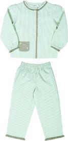 Shoppertree Night Suit Girl's Striped Top & Pyjama Set