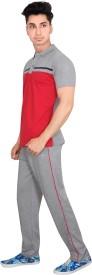 OZLO Men's, Boy's Printed Red, Grey Top & Pyjama Set