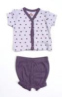 Bio Kid SHORT PYJAMA - THISTLE AOP TOP & PURPLE Baby Girl's Printed Top & Shorts Set