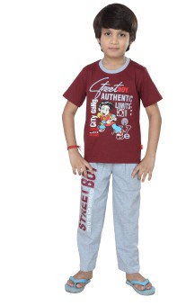 Purple Baby Boy's Graphic Print Maroon Top & Pyjama Set