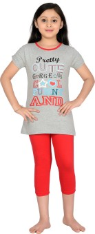 Punkster Girl's Graphic Print T-shirt & Three-forth Set