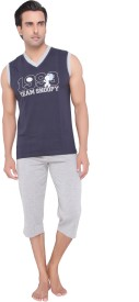 Valentine Men's Solid Dark Blue T-shirt & Three-forth Set