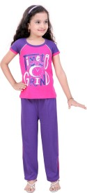 Be 13 Girl's Printed Pink Top & Pyjama Set