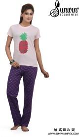 Sunwin Women's Floral Print Pink Top & Pyjama Set