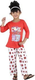 Bella & Brat Girl's Printed Orange, White Top & Pyjama Set