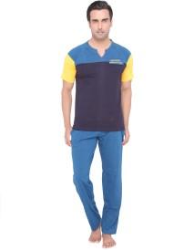 Valentine Men's Solid Top & Pyjama Set