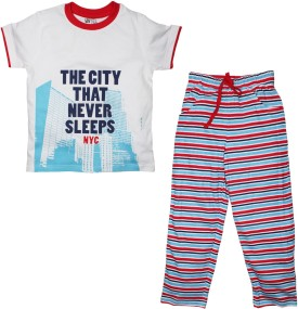 FS Mini Klub Sleepwear Boy's Printed White Top & Pyjama Set