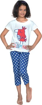 Gee & Bee Girl's Printed T-shirt & Three-forth Set