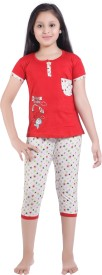 Red Ring Girl's Printed Red Top & Capri Set
