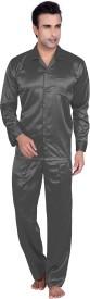 Tatwam Men's Solid Grey Top & Pyjama Set
