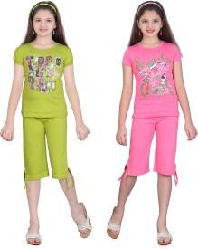 Sinimini Girl's Printed Multicolor Top & Capri Set