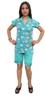 Indiatrendzs Night Suit Women's Floral Print Top & Shorts Set