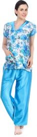 Fasense Women's Printed, Solid, Floral Print Top & Pyjama Set