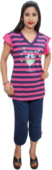 Indiatrendzs Women's Striped Top & Capri Set