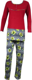Indiatrendzs Women's Floral Print Top & Pyjama Set: Night Suit