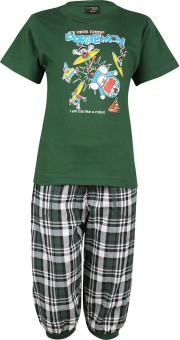 Meril Boy's Printed Green T-shirt & Three-forth Set